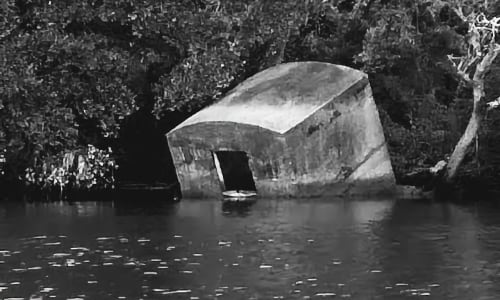 half sunk crypt in river probably haunted