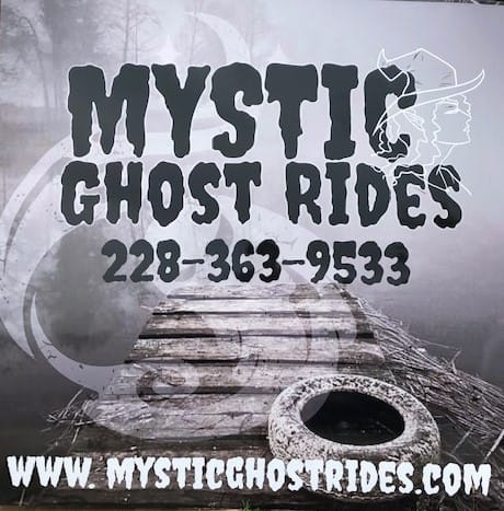 Mystic Ghost Rides contact us sign